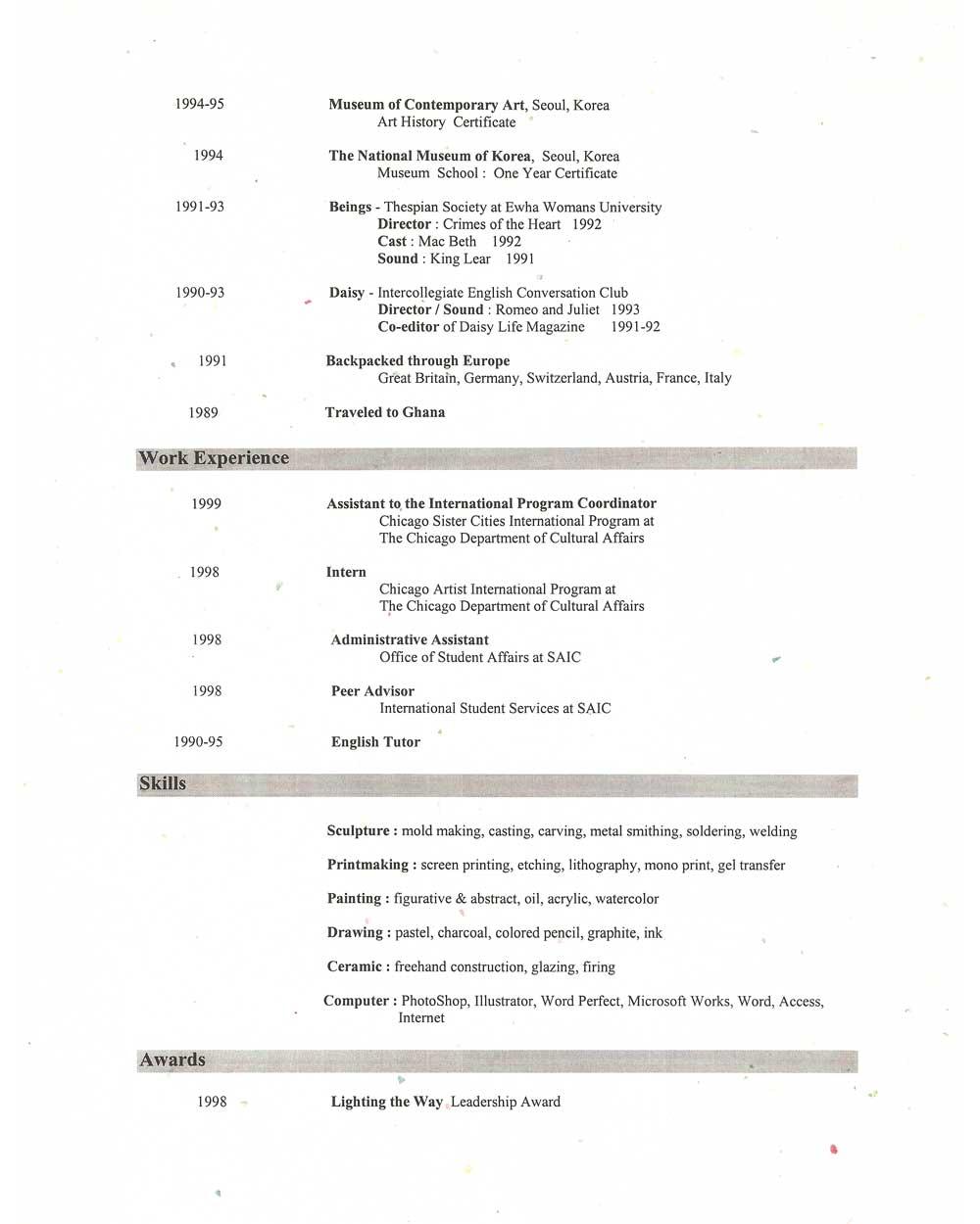 Eun Young Choi's resume, pg 2